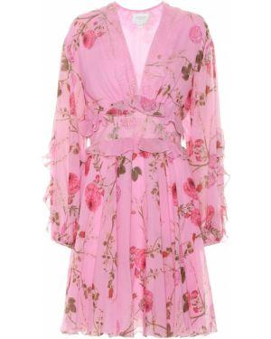 Платье мини розовое с цветочным принтом Giambattista Valli