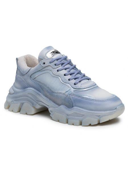 Buty sportowe skorzane - niebieskie Bronx