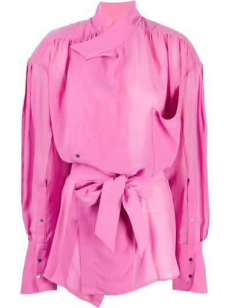 Розовая рубашка с карманами на пуговицах оверсайз Mugler