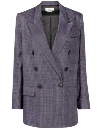 Малиновый удлиненный пиджак двубортный с карманами Isabel Marant étoile