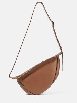 Коричневая сумка через плечо с перьями из натуральной кожи The Row