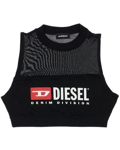 Czarny crop top bez rękawów bawełniany Diesel Kids