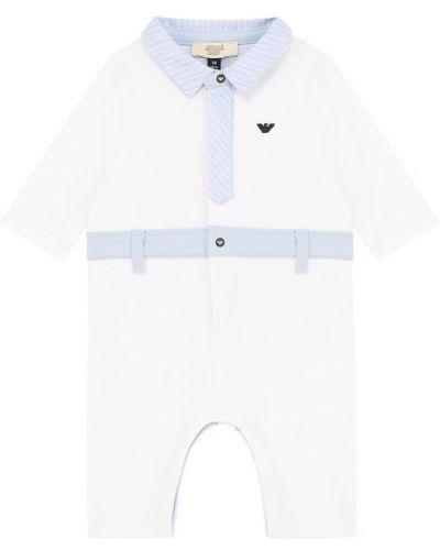 Комбинезон белый с вышивкой Armani Junior