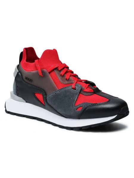 Buty sportowe skorzane - czerwone Hugo