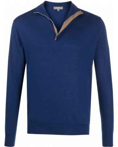 С рукавами темно-синий шелковый джемпер с манжетами N.peal
