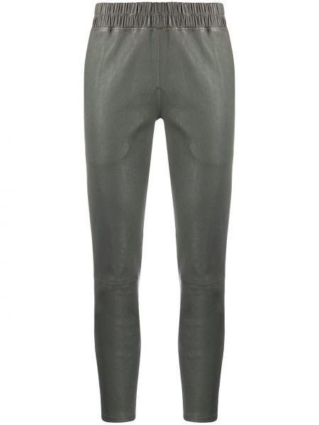 Кожаные серые брюки с поясом узкого кроя Inès & Maréchal