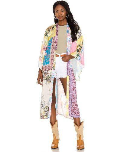 Żółty satynowy szlafrok kimona Free People