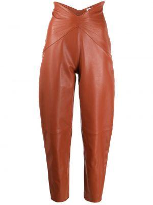 Brązowe spodnie z wysokim stanem skorzane Attico