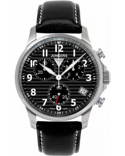 Часы водонепроницаемые с подсветкой с кожаным ремешком Junkers