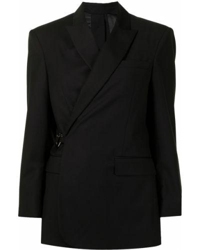 Шерстяной черный классический пиджак с лацканами Rokh
