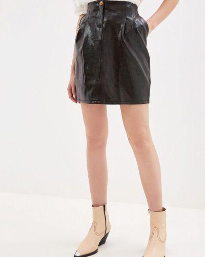 Кожаная юбка черная итальянский Miss Miss By Valentina