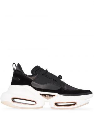 Czarne sneakersy skorzane sznurowane Balmain