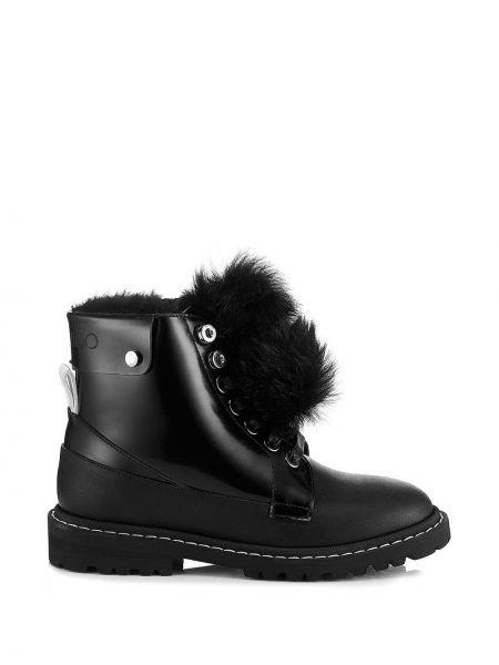 Skórzany czarny buty obcasy okrągły na pięcie Jimmy Choo