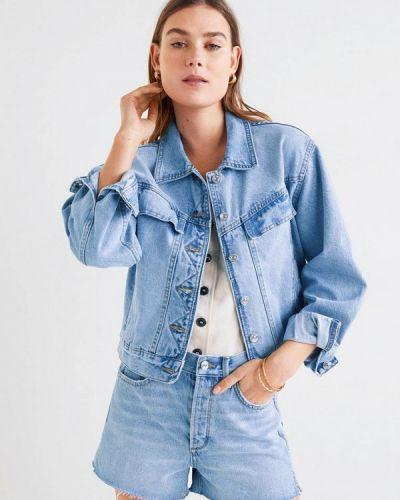 Джинсовая куртка весенняя голубая Mango