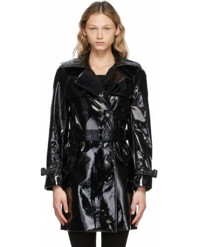 Черное пальто с поясом Saint Laurent