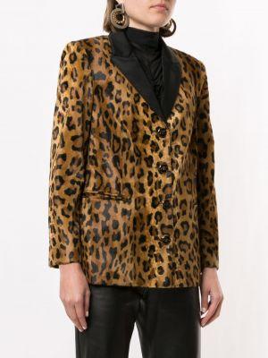 Коричневый удлиненный пиджак на пуговицах со шлицей Khaite