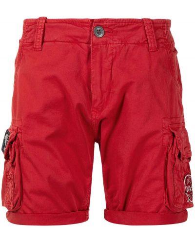 Красные хлопковые шорты карго с карманами Alpha Industries