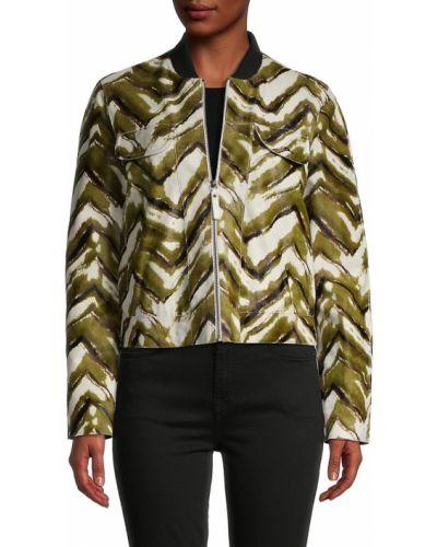 Кожаная куртка длинная - хаки Longchamp