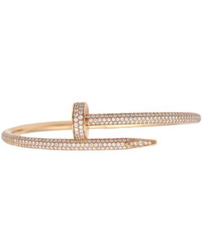 Золотистый золотой браслет золотой с бриллиантом Cartier
