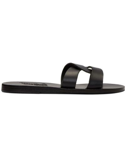 Skórzany czarny sandały grecki okrągły nos wytłoczony Ancient Greek Sandals