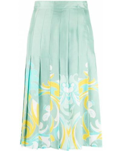 Zielona spódnica plisowana z wysokim stanem z printem Emilio Pucci