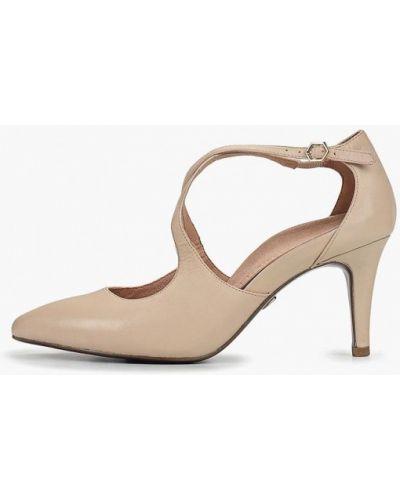 Туфли на каблуке кожаные бежевый Heart & Sole By Tamaris