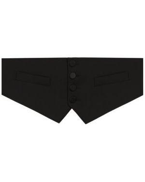 Текстильный черный камербанд на пуговицах с пряжкой Dsquared2