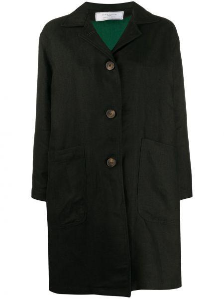 Черное пуховое длинное пальто с капюшоном Société Anonyme