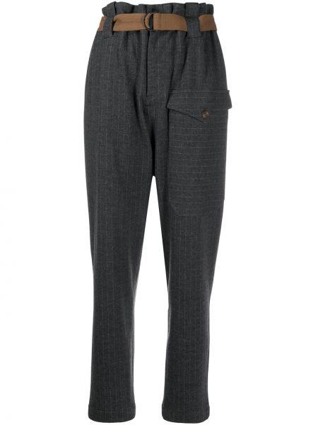 Шерстяные серые прямые брюки на молнии Brunello Cucinelli