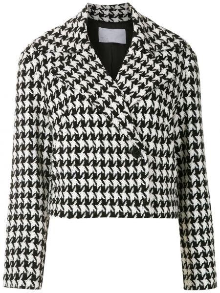 Шерстяной черный короткая куртка на пуговицах Nk