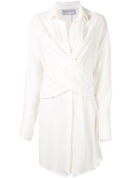 Платье макси с длинными рукавами - белое Strateas Carlucci