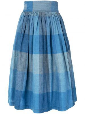 Синяя юбка миди с запахом винтажная с карманами Issey Miyake Pre-owned