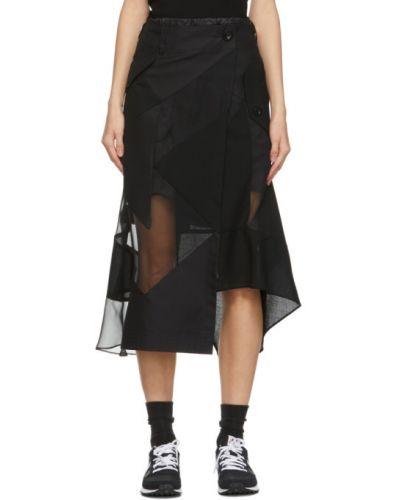 Шифоновая черная юбка с карманами Sacai
