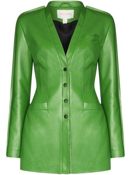 Приталенная зеленая кожаная куртка из натуральной кожи Matériel