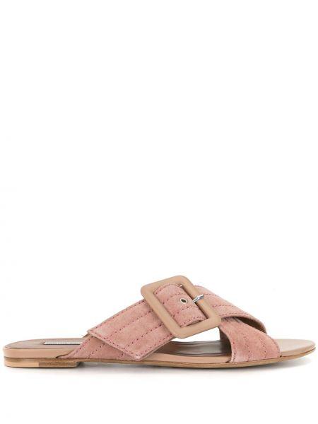 Różowe sandały skorzane na niskim obcasie Tabitha Simmons