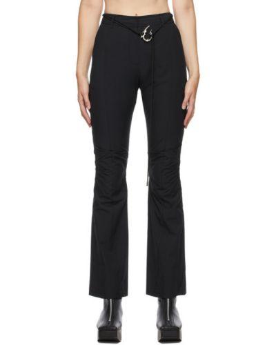 Брючные серебряные расклешенные брюки с поясом Hyein Seo