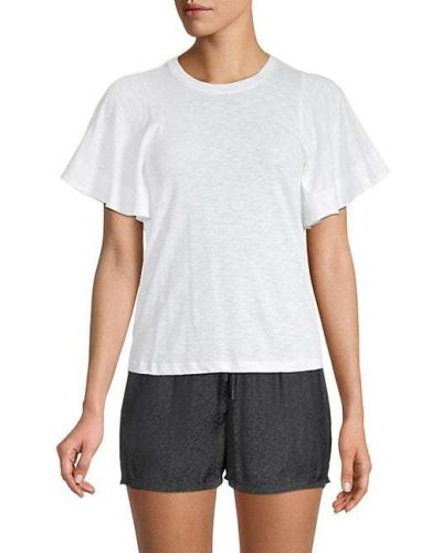 Хлопковая прямая белая футболка David Lerner