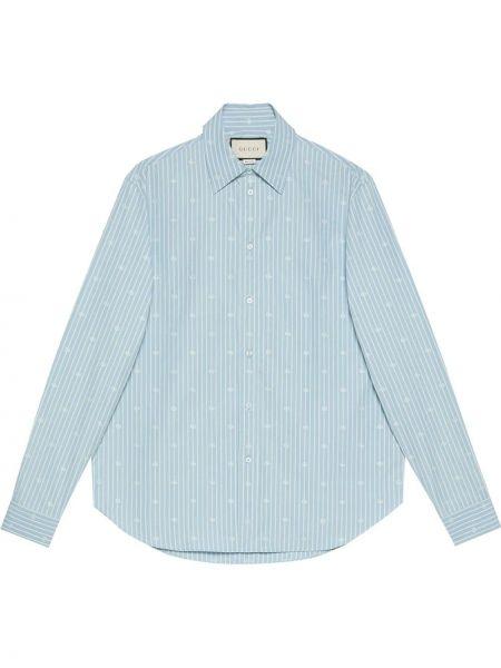 Niebieski bawełna koszula z mankietami z kołnierzem Gucci