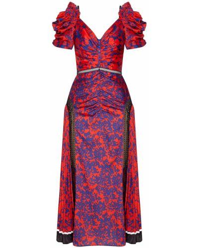 Платье мини коктейльное с цветочным принтом Self-portrait