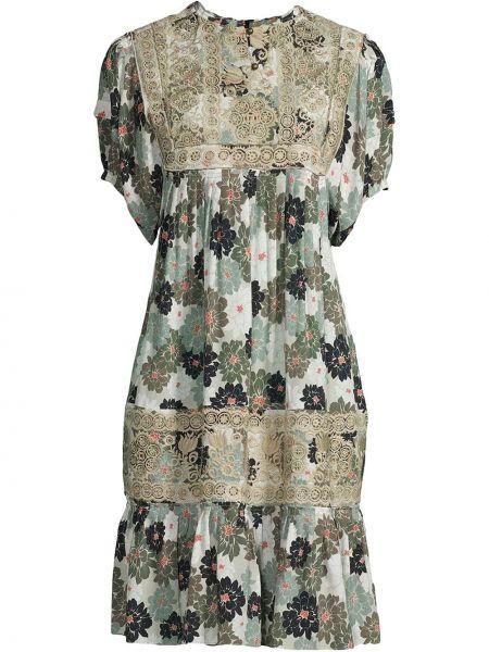 Шелковое платье мини - зеленое Nicole Miller