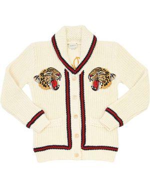 Biały kardigan z haftem bawełniany Gucci
