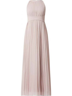 Różowa sukienka wieczorowa rozkloszowana z szyfonu Apart Glamour
