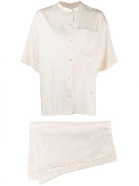 Костюмный шелковый белый костюм Jil Sander