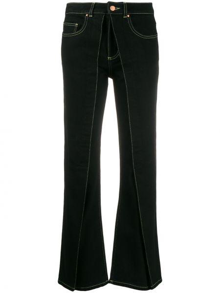 Czarne jeansy skorzane rozkloszowane Aalto