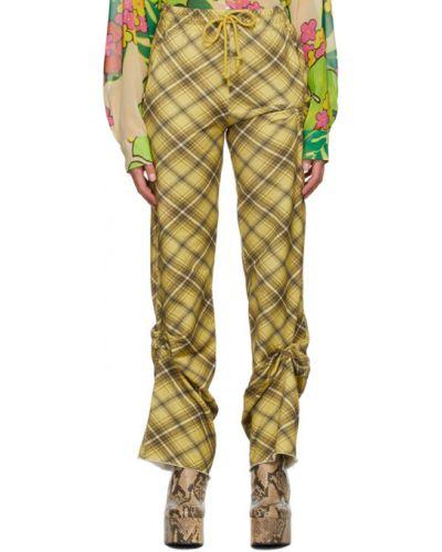 С кулиской желтые махровые брюки с карманами Dries Van Noten