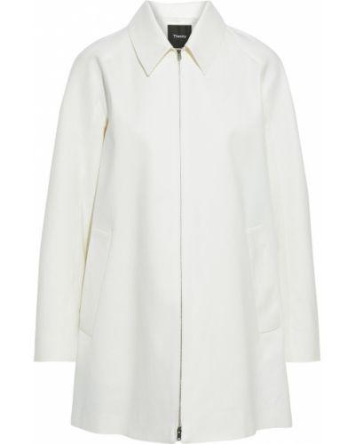 Текстильное белое пальто с карманами Theory