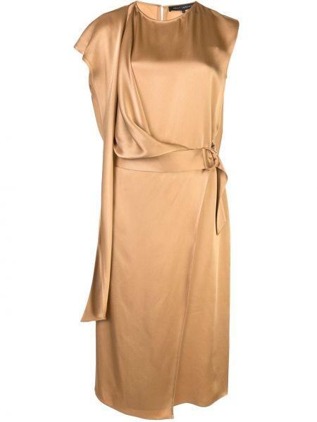 Асимметричное приталенное платье миди с драпировкой с вырезом Sally Lapointe
