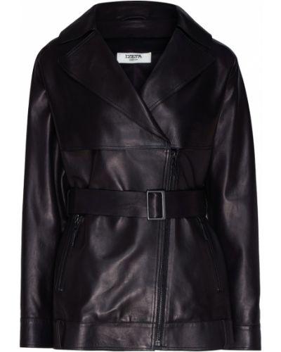Черная кожаная куртка на молнии Izeta