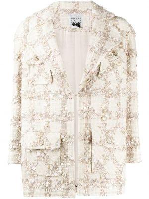 Бежевая длинная куртка твидовая с отворотом с карманами Edward Achour Paris
