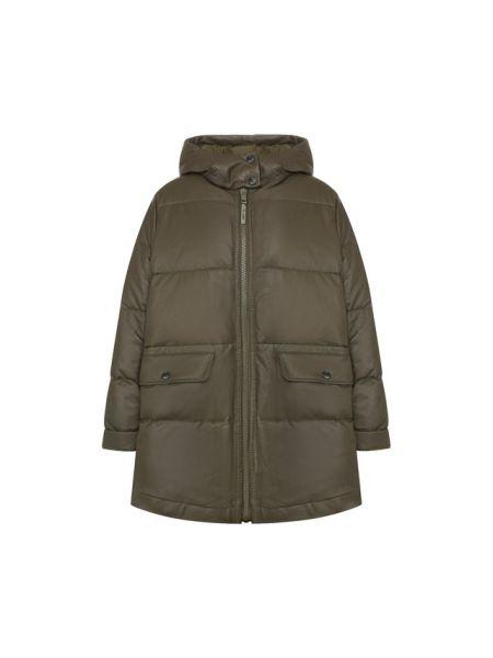 Кожаная куртка с капюшоном - зеленая Army Yves Salomon